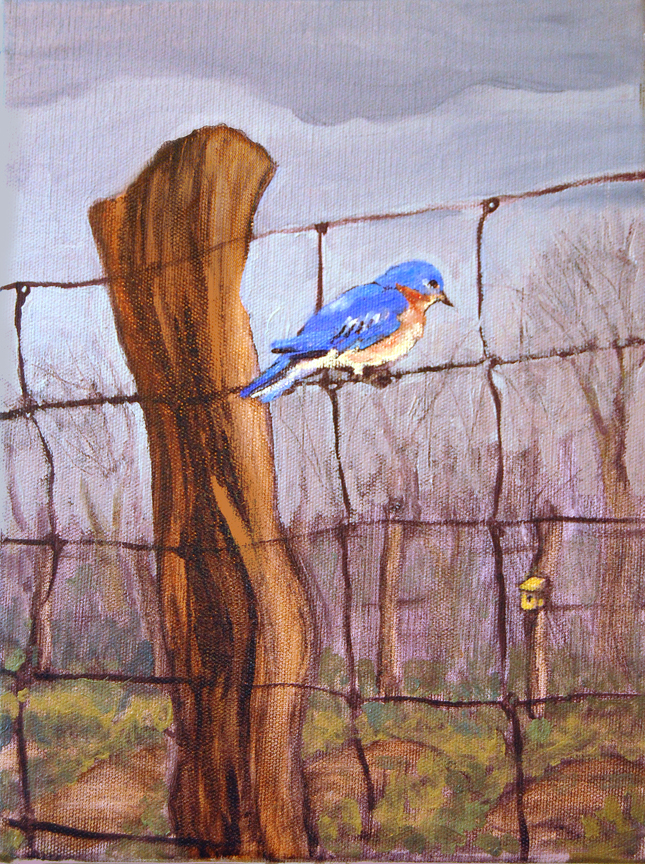 bluebird on a fence painting