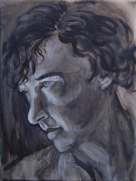oil painting of Sherlock - underpainting