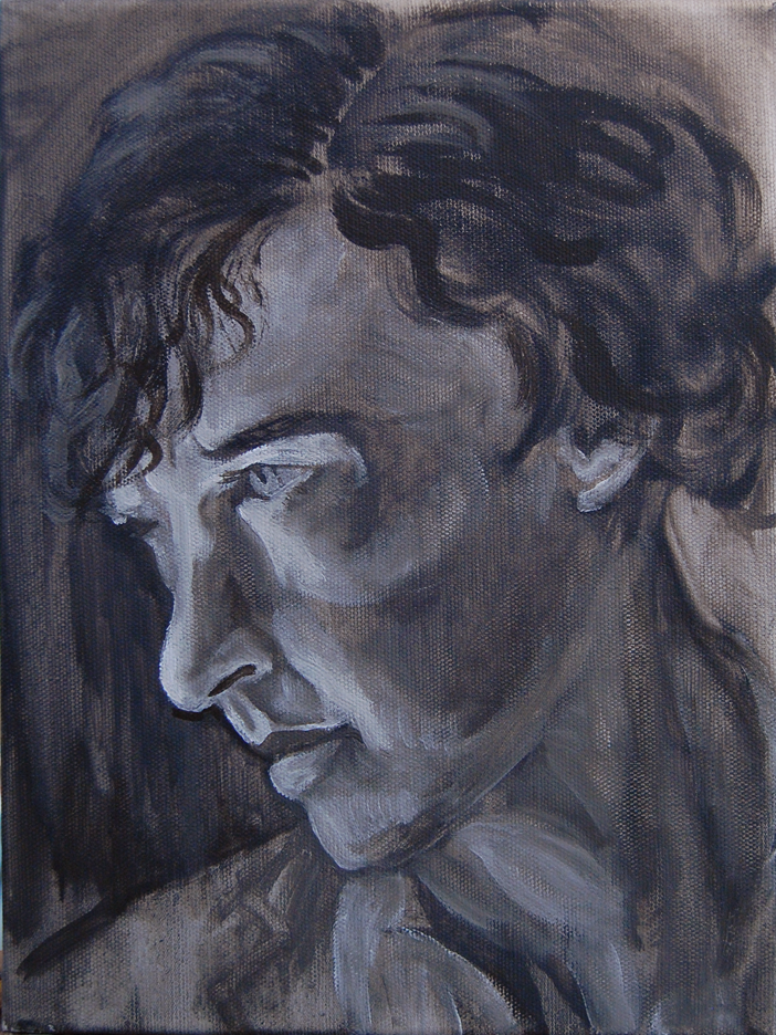oil painting of Sherlock - underpainting